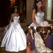Crystal Wedding Dresses Bridal Ball Gowns Satin Strapless+Long Train Custom Made