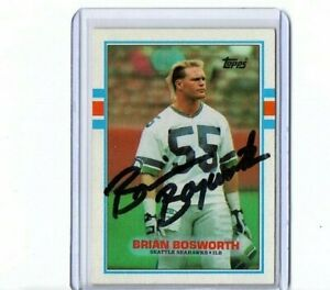 1989 TOPPS VINTAGE CARD SIGNED AUTO BRIAN BOSWORTH SEAHAWKS GREAT