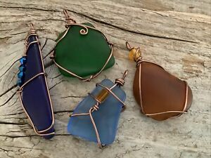 Four Pieces Wire Wrapped Seaglass Pendants Antiqued boho Beach Necklace Wrap Mix