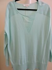 Two by Vince Camuto Cotton Blend Pale Turq Crew-neck Top Size-L
