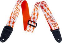 Genuine Gretsch Alternating Orange and White Penguins Guitar Strap