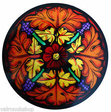 STAINED GLASS WINDOW ART - STATIC CLING  DECORATION - ST MICHAEL MOUNT MOTIF 1
