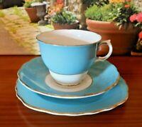 Colclough China Harlequin Blue Tea Set Trio