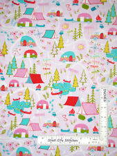 Camping Tent Trailer Scenic Cotton Fabric Timeless Treasures C6277 By The Yard