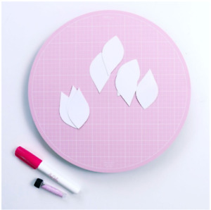"""Sue Daley Pink Rotating Cutting Mat 10"""". For sewing EPP & patchwork quilts."""