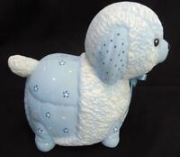 LIGHT PASTEL BLUE PUPPY SHEEP DOG BABY CERAMIC COIN BANK LOOKS QUILTED FABRIC