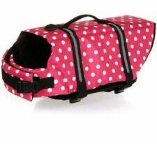Girl Dog Pet Vest Swimming Life Jacket Pink Polka Dot Haocco  XL Extra Large