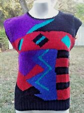 Vintage Penrose Sweater, M Sleeveless, Acrylic 1980s Geometric Print Red Teal T6