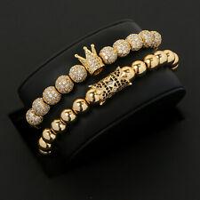 2020 Luxury Men's CZ Balls King Crown Macrame Lovers Bracelet Charm Gold Beads