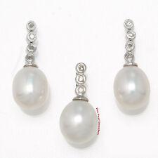 14k White Gold & Diamonds Genuine White Cultured Pearl Earring & Pendant TPJ