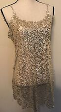INTIMATELY FREE PEOPLE Sheer Gold Ivory Sequin Tank Top MESH Shirt Size LARGE