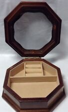 Small Octogonal Wooden JEWELRY BOX ~ Ancienne BOITE A BIJOUX en Bois Solide