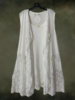 Plus Size Vintage Boho Festival White Jersey Lace Vest Kimono Cardigan 1XL 2XL
