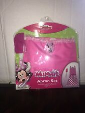Disney Junior Minnie Mouse Pink Apron And Spatula Set Child Size Small 4-6