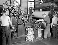 "1936 Rewinding Paper Reel, Holyoke, MA Vintage Photograph 8.5"" x 11"" Reprint"