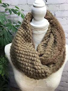Brown plush reversible infinity scarf textured faux fur warm cute fuzzy winter