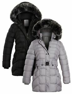Girls Quilted Parka Coat Ages 13 5 8 9 11 12 14 Years Jacket Faux Fur Black Grey