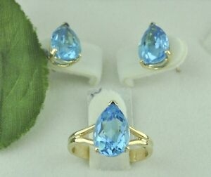 9.00 ct 14k Yellow Gold Pear Shape Blue Topaz Stud  Earring Ring Set made in USA