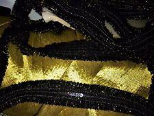 3 metres de dentelle galon noir & or , largeur 2 cm