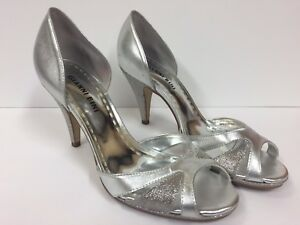 GIANNI BINI Silver Peep Toe sz 7.5 Heels Shoes (RK728)