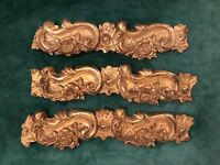 3 Piece French Antique Embossed Gilt Brass Valance Trim Picture Frame Mirror II