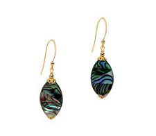 14K Gold gf Dangle Earrings Paua Mother of Pearl Abalone Shell
