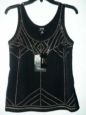 NICOLE MILLER EMBELLISHED BLACK TANK TOP GOLD BEADS MSRP $60 SZ XS NWT