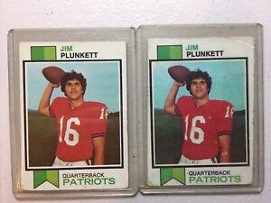 1973 TOPPS FOOTBALL #355 JIM PLUNKETT HOF PATRIOTS LOT OF 2 FAIR / GOOD
