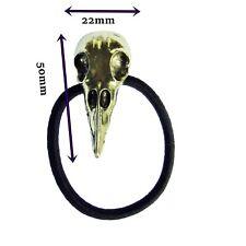 Crâne Cheveux Pompon Crow Raven cheveux bande élastique Goth Biker Rock Chick laiton J6