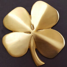 """Irish Four Leaf Clover Wall Hanging Decoration Gold Plated Pewter 4.5"""" x 4.25"""""""
