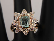 2.28 Natural  AAA+ Colombian Green Emerald  Diamond G/SI Halo Ring 14k Exquisite