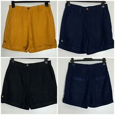 Next Linen Blend Pocket Roll Up Tab Shorts 3 Colours Size 6 - 26 (n-105h)