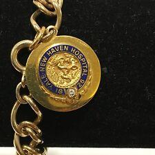 Vtg Yale New Haven Hospital 45 Years Service Charm Bracelet Diamond 10k & 12k GF