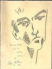 J. Cocteau 1955 signed pencil drawing on INGRES paper - 'Selfportrait II' - COA