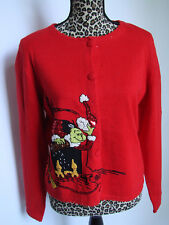 Dr Seuss Grinch Red Cardigan Holiday Christmas Sweater Michael Simon Small New