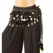 Chiffon Paillette Belly Dance Hip Scarf Coin Belt Oriental Dancers Costume Black/silver