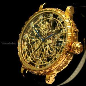 Vintage Mens Wristwatch Gold Skeleton Men Wrist Watch IWC Schaffhausen Movement