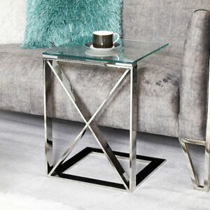 Aria Stainless Sofa Table Glass Top Square Side End Table Living Room Furniture