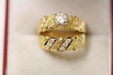 22ct/916 sparkling indian size K gold engagement/wedding ring set *Boxed*