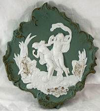 Green Jasperware Wall Plaque 2 Dancing Nymphs ( Nude ) Great Details 1 of 2