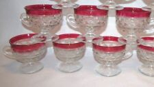 INDIANA GLASS AMERICAN WHITEHALL COLONY RUBY FLASH 6 PUNCH CUPS ONLY
