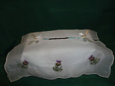 2 Pieces Embroidered Scottish Thistle Fabric Tissue Box Cover