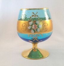 Vintage Bohemian Aqua Blue Glass With Gold Leaf Ture 100% Guarantee Bohemian/czech