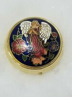 VINTAGE GOLD TONE ANGEL TOP MULTI COLOR  ENAMEL PILL TRINKET BOX  3 COMPARTMENTS