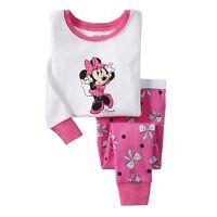 Minnie Mouse Pajamas Set Baby Child Kids Girls Sleepwear Cotton Nightwear 2-8Y