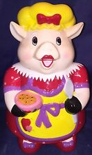 """New Large Whimsical Contemporary Girley Cooking Apron Pig Cookie Treat Jar 10"""" T"""