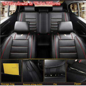 Universal 5D Full Surrounded Car Seat Cover PU Leather Seat Cushion w/Pillows