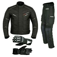 Men's Motorcycle Cordura Textile Suit Waterproof Jacket-Trousers Leather Gloves
