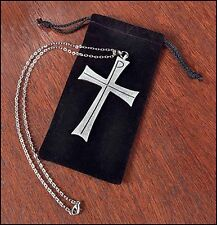 Latin Pectoral Cross Clergy w Pouch Silver Satin Pewter Greek Chi Rho (KC309)