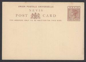 Nevis QV 1 1/2d postal card unused